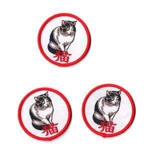 NEW CAT BADGES SEW-ON PATCHES EMBROIDERED 3-PACK